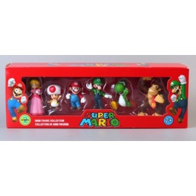PACK 6 FIGURA DE COLECCION SUPER MARIO BROS