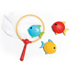 SET DE PESCA INFANTIL CON RED DE MANO Y 3 PECES