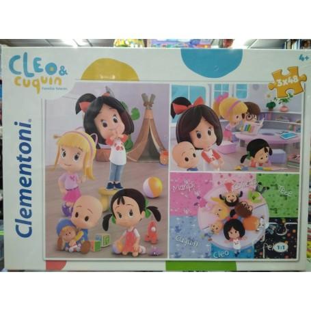 PUZZLE CLEO Y CUQUIN FAMILIA TELERIN 3X48 PIEZAS