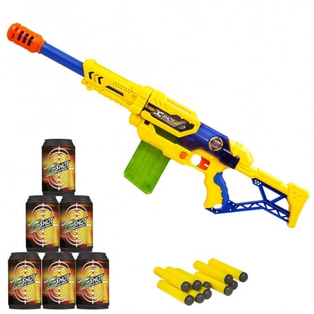 X-SHOT RIFLE- SET MAX ATTACK DE DARDOS & LATAS