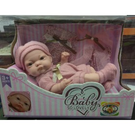 MUÑECA BEBE BABY SO LOVELY ROSA 25 CM