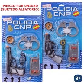 BLISTER POLICIA CON PISTOLA Y ESPOSAS