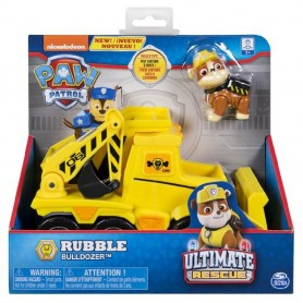 RUBBLE VEHICULO PAW PATROL Y FIGURA ULTIMATE RESCUE