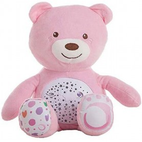 PELUCHE OSO ROSA PROYECTOR LUZ Y MUSICA 36 CMS.