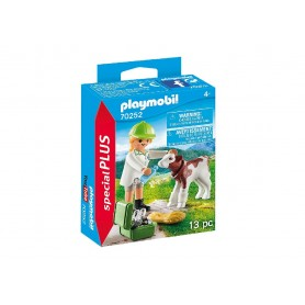 VETERINARIA CON TERNERO - PLAYMOBIL 70252