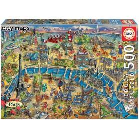 """PUZZLE 500 PIEZAS  MAPA DE PARÍS """"CITY MAPS"""""""