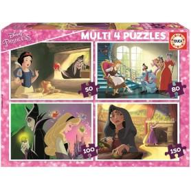 MULTI 4 PUZZLES PRINCESAS CONTRA VILLANOS DISNEY
